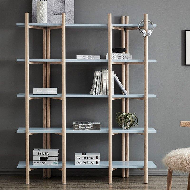 書櫃 藝術北歐現代簡約書架落地木質置物架子多層收納組裝   麻吉好貨