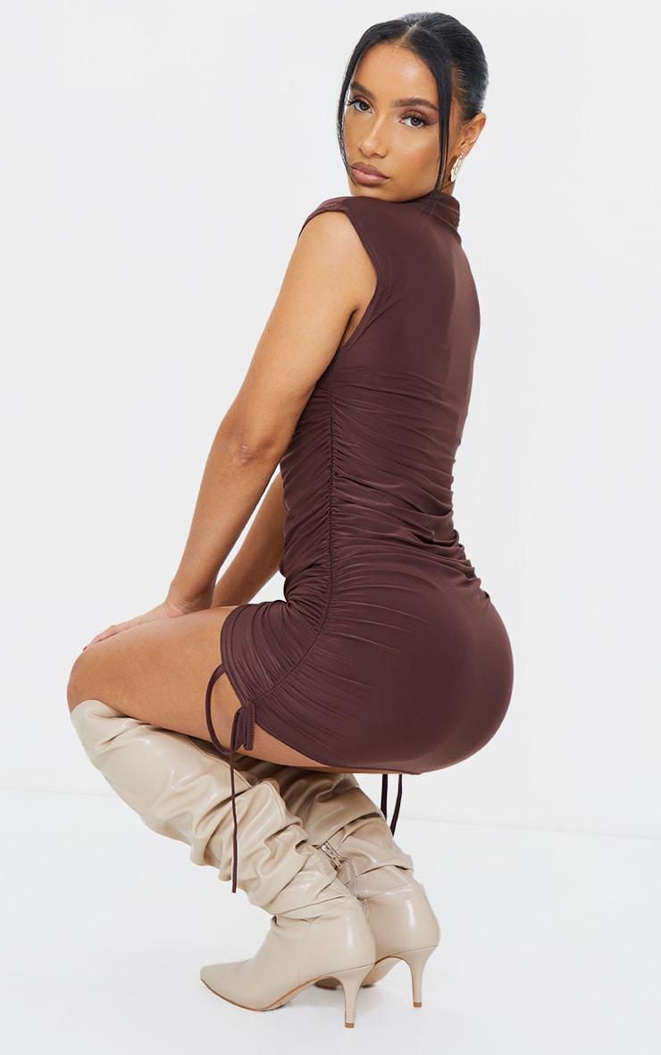 Chocolate Slinky Sleeveless High Neck Ruched Bodycon Dress