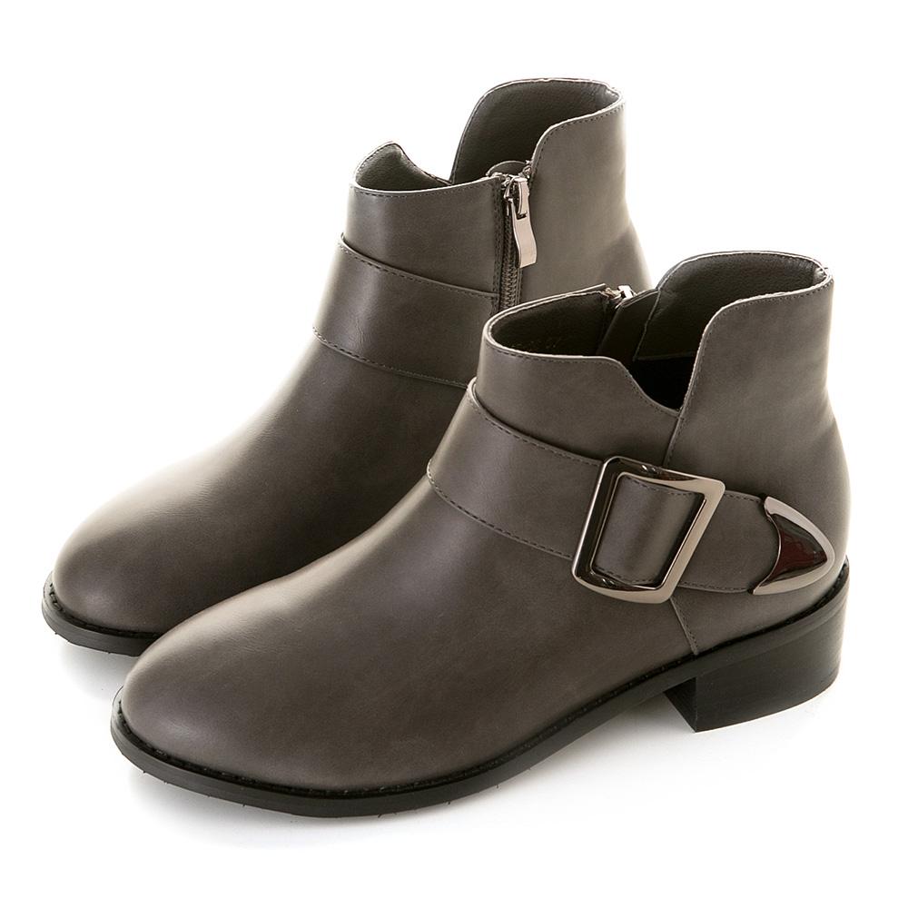 歐美小V方釦短靴 灰 GB-36GY