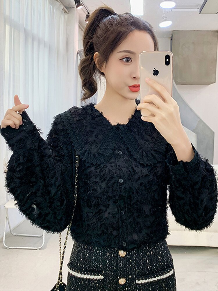 春裝套裝女2020新款韓版娃娃領蕾絲襯衫+小香風短裙時尚兩件套潮1入