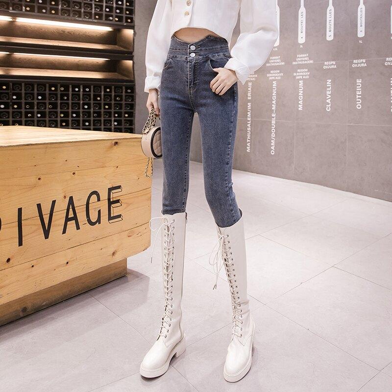 2020春季新款高腰小腳褲韓版顯瘦緊身牛仔褲時尚氣質長褲子女1入