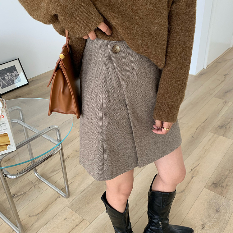 【missy shop】暖棕毛呢短裙-Q26243