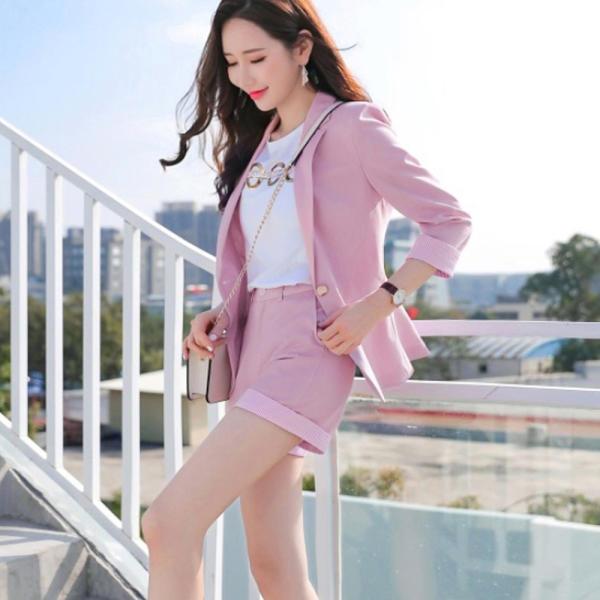 7分夾克+褲子休閒夾克 女性西裝套裝短褲兩件套 春夏粉色