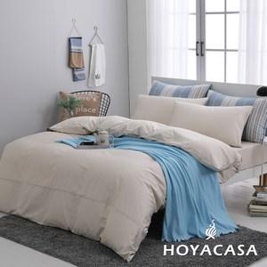 贈舒眠枕2入-HOYACASA時尚覺旅-雙人300織長纖細棉被套床包四件組-多款任選珍珠米