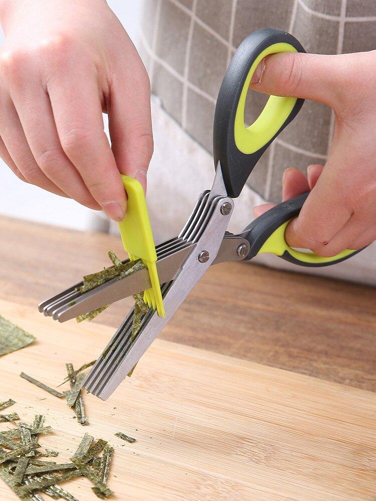 五層蔥花剪刀廚房韭菜香菜切絲碎紙多層剪刀兒童食物寶寶輔食剪子1入