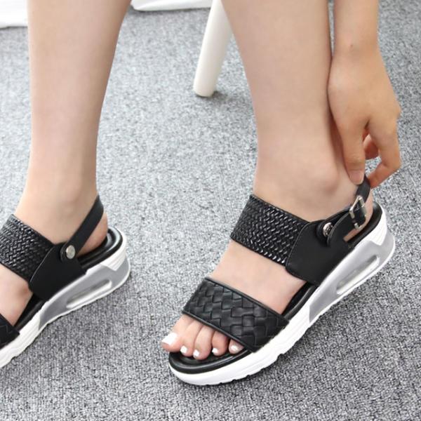 [MASH] 女性坡跟平底涼鞋 夏季橫條淺口式鞋 黑色
