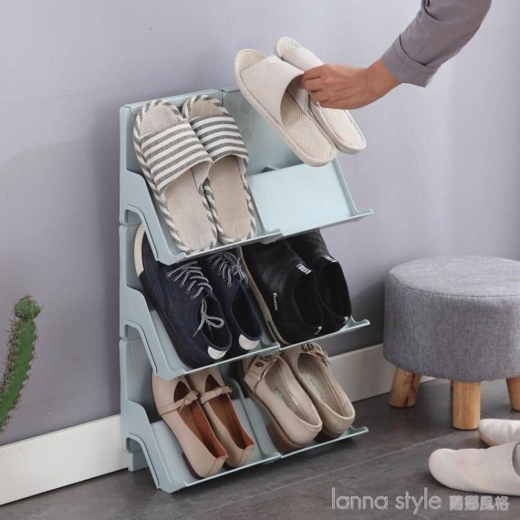 多層可疊加鞋架簡易門口家用塑料鞋托宿舍收納鞋架分層整理小鞋櫃 全館牛轉錢坤 新品開好運