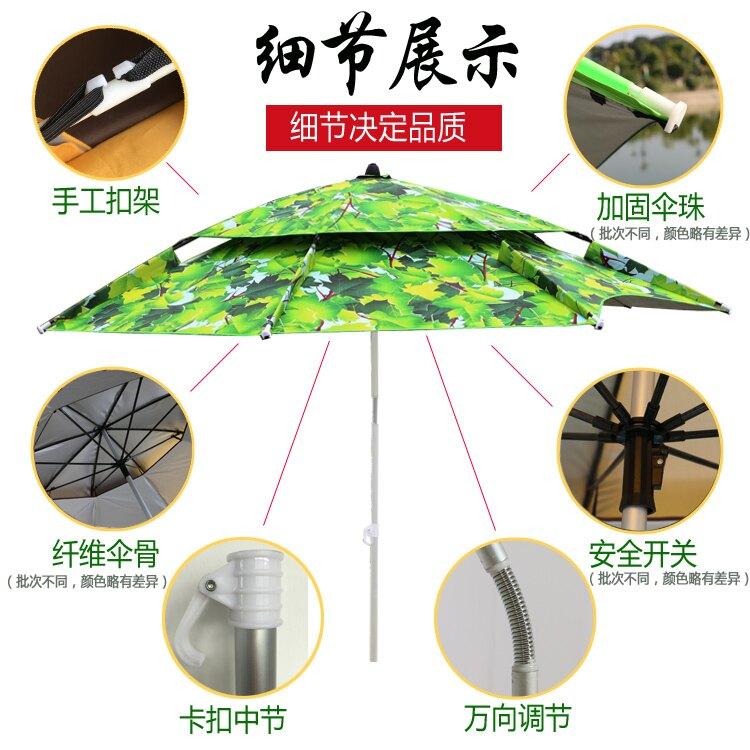 雨傘2.2米萬向防雨防曬紫外線釣垂2.4米黑膠遮陽加固釣魚傘 全館牛轉錢坤 新品開好運