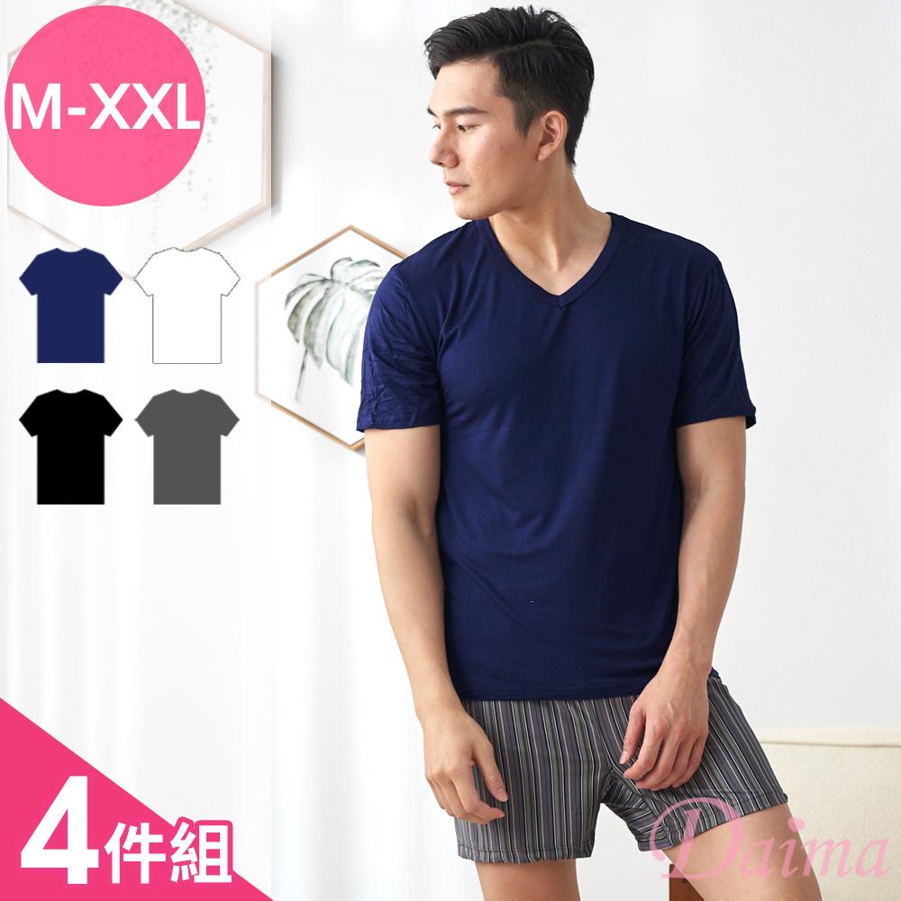 上衣 型男輕著感(M-XXL)涼感透氣素色短袖上衣(4件組)【黛瑪Daima】