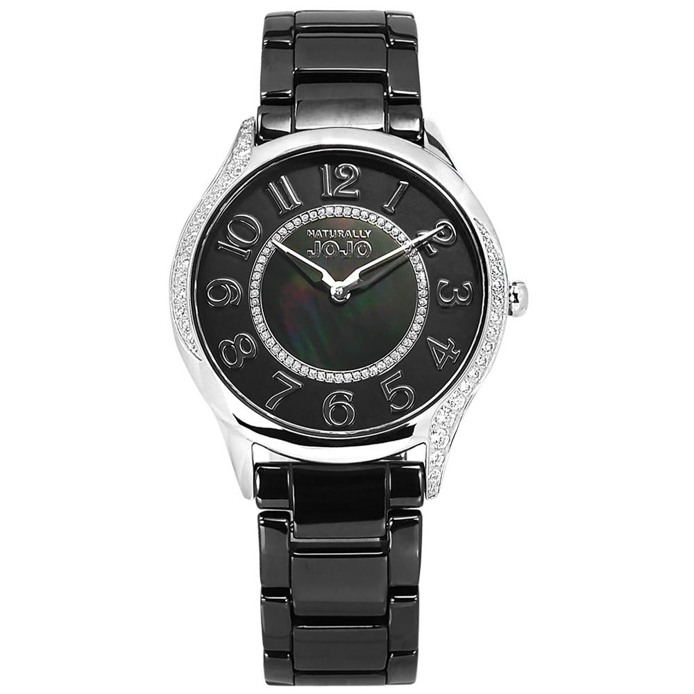 NATURALLY JOJO 時尚迷人 珍珠母貝 閃耀晶鑽 陶瓷手錶 黑 JO96940-88F 36mm 廠商直送