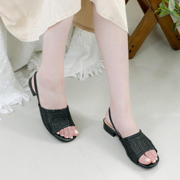 [LATAN] 平底鞋涼鞋 女士 露跟涼鞋 夏季涼鞋 MULL SLIPER 海灘 黑色