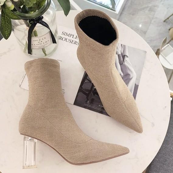[shinzikatoh] 透明跟 針織彈性短腰鞋 女性短腰鞋 米色