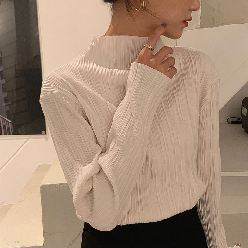 韓版褶皺肌理感寬鬆長袖襯衫 百搭女裝打底衫白襯衣