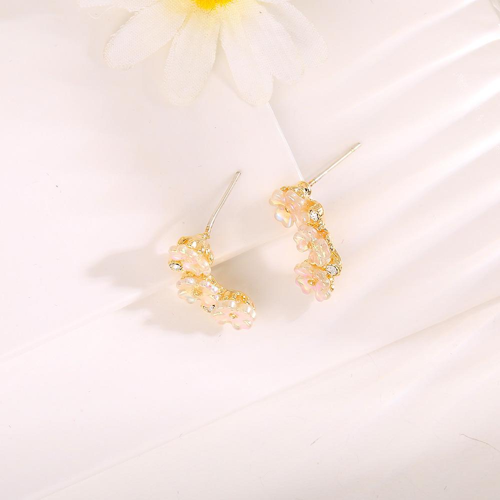 [韓國流行耳環]多方位排列氣質小花 ER00092