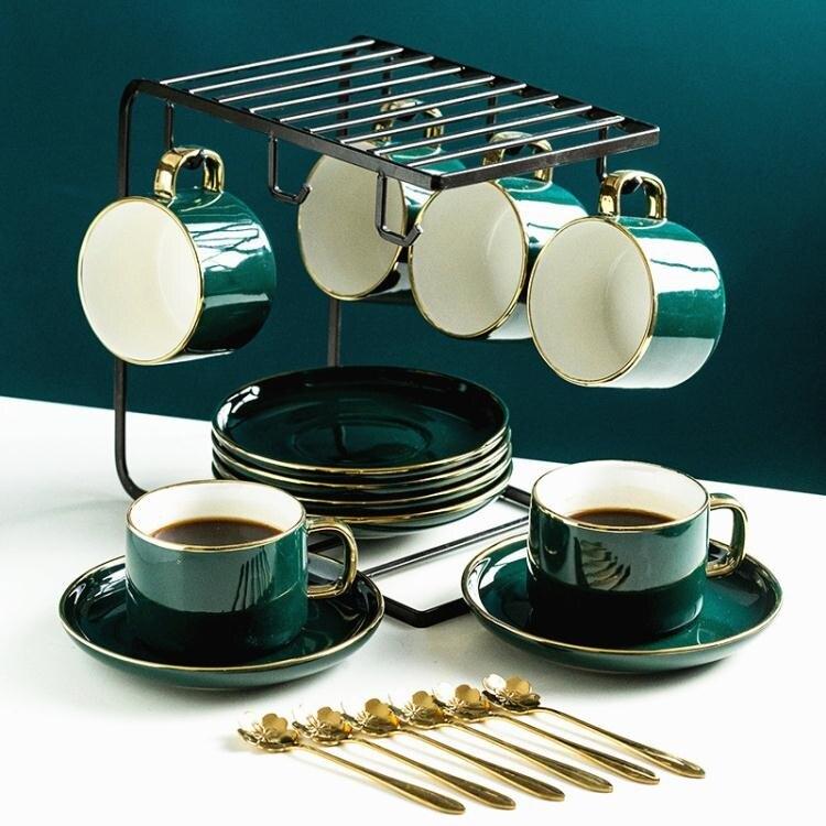 英式輕奢ins陶瓷咖啡杯下午花茶杯碟咖啡具茶具水杯家用奢華套裝 麻吉好貨 LX