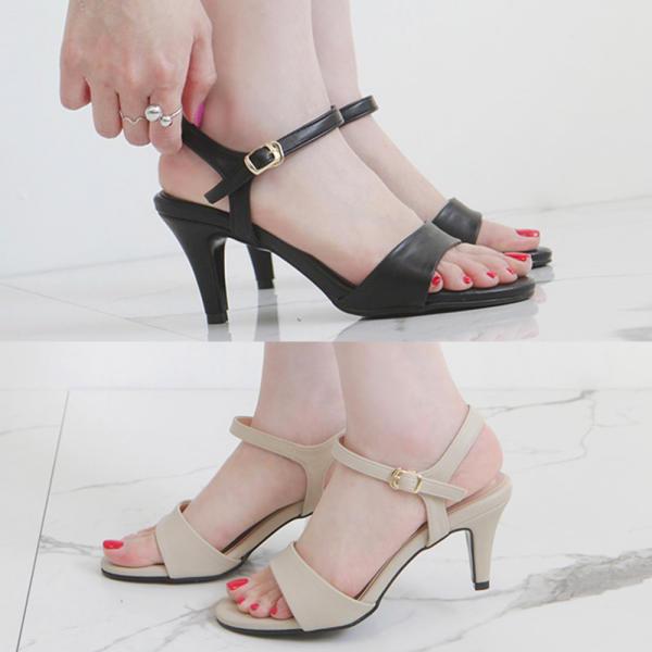 7cm束帶中跟涼鞋,夏季女式淺口鞋 黑色