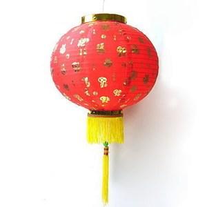 摩達客 農曆春節12吋百福字大紅綢布燈籠(一組兩入)