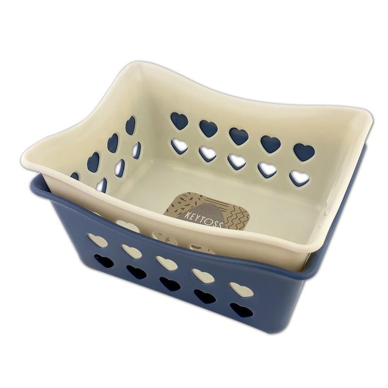 詰朵斯 心心收納籃(方形/長方形) 可堆疊收納盒 零件藍 置物籃 小物籃 桌面收納 桌上籃子 文具收納 置物盒
