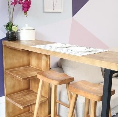 簡易吧臺隔斷櫃家用實木小吧臺loft簡約開放式廚房吧臺酒櫃高桌子 麻吉好貨