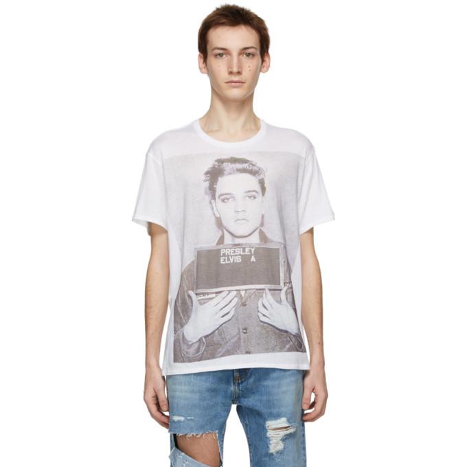R13 白色 Elvis Mugshot Boy T 恤