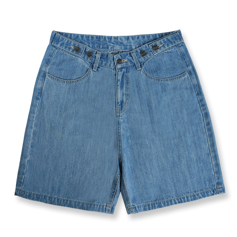 腰頭雙釦調節寬短褲(拔洗藍)-女