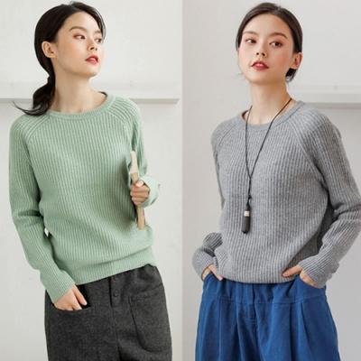 莫蘭迪毛衣圓領套頭慵懶風寬鬆-設計所在