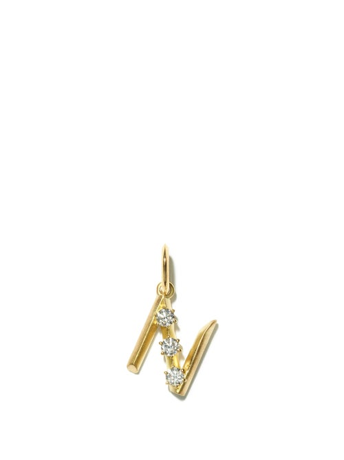 Jade Trau - Diamond & 18kt Gold Initial Charm (n-z) - Womens - Yellow Gold