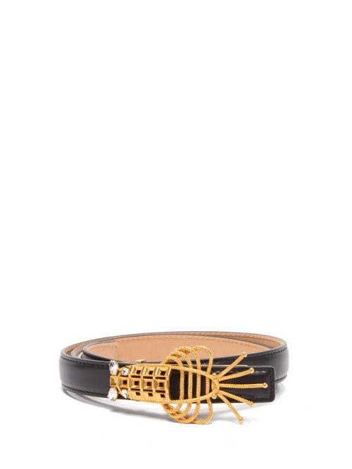 Sonia Petroff - Lobster Crystal-embellished Leather Belt - Womens - Black