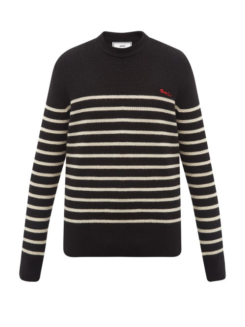 Ami - Logo-embroidered Striped Virgin Wool Sweater - Mens - Black White