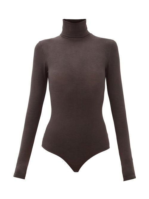 Wolford - Colorado Thong Bodysuit - Womens - Dark Grey