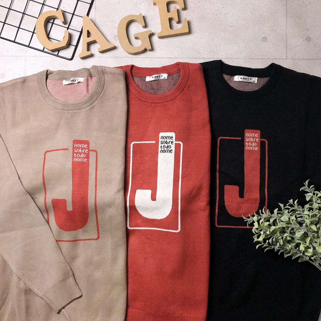 【C'age】J字樣針織厚毛衣-卡其/磚紅/黑 針織毛衣 厚毛衣 冬季上衣 保暖上衣 現貨 57108