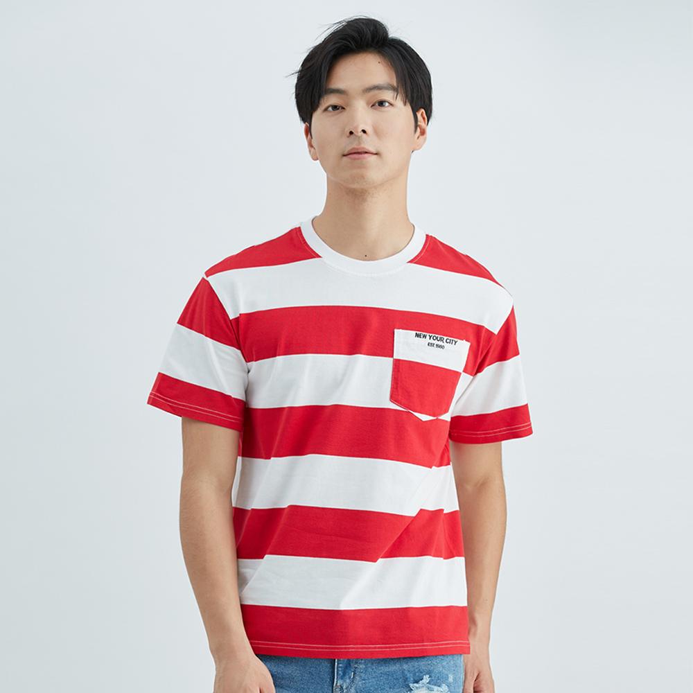 條紋純棉口袋T恤(紅)-男