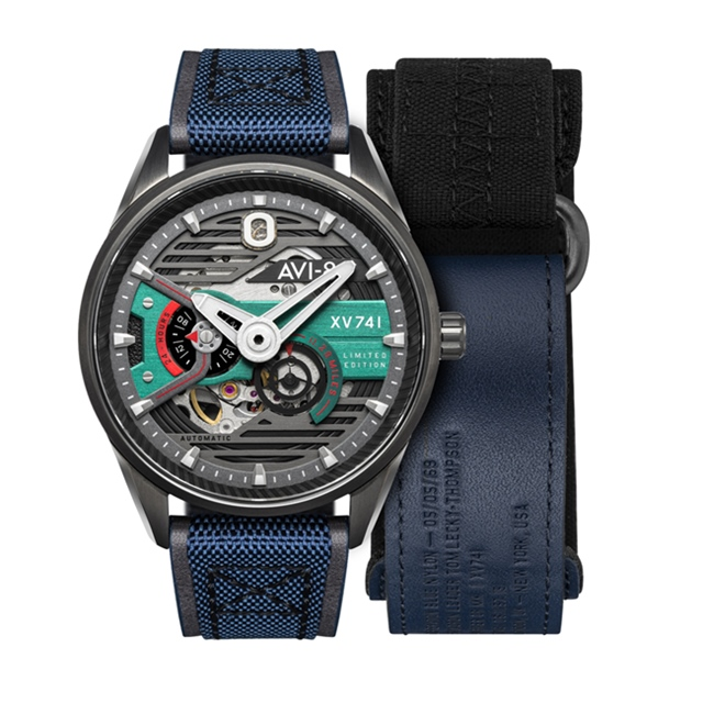 【AVI-8】HAWKER HUNTER 帥氣機械錶禮盒組 (  藍灰 AIAV4074XV741)