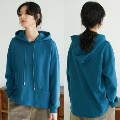 340g毛圈棉厚實藍色連帽套頭衛衣寬鬆絨衫-設計所在