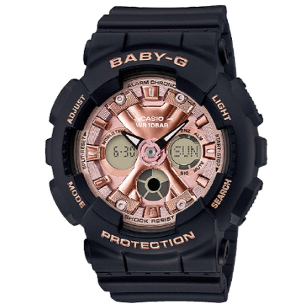 CASIO卡西歐 Baby-G 俏麗甜心雙顯電子錶-玫瑰金 X 黑 / BA-130-1A4 (台灣公司貨)