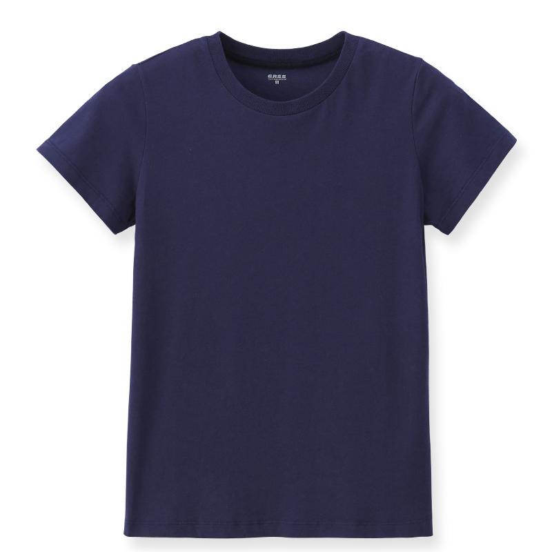 素色圓領T恤(丈青)-女