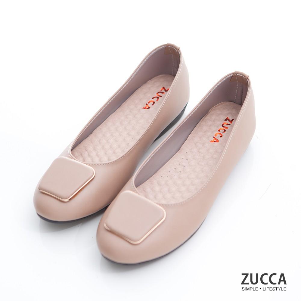 【ZUCCA】素金屬方圓邊平底鞋-z6905lc-駝
