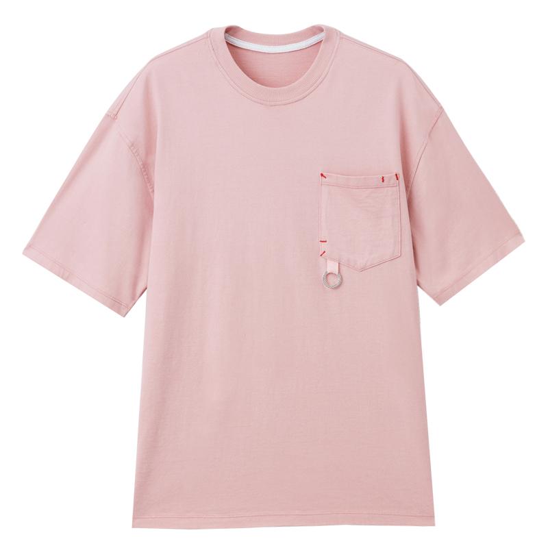 寬版微潮勾環T恤(淡桔)-男