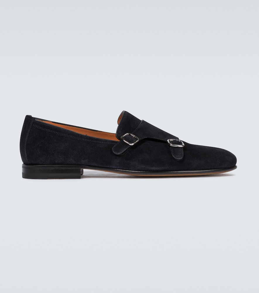 Double monk strap suede loafers