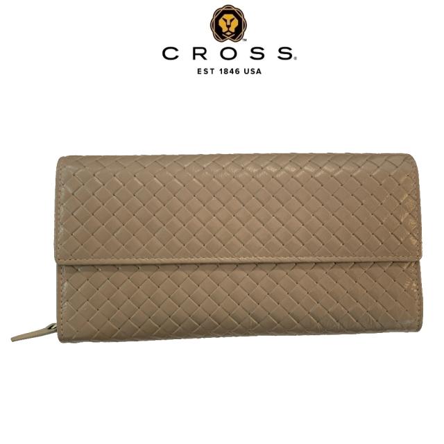 CROSS 頂級NAPPA小羊皮編織紋鈕扣拉鍊長夾(鴿子灰)