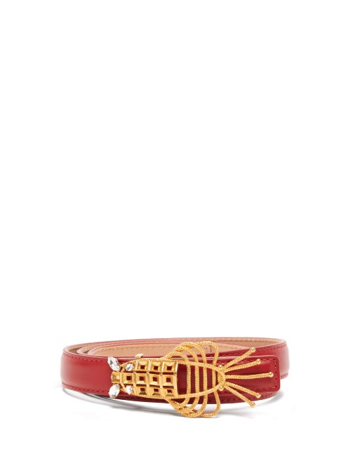 Sonia Petroff - Lobster Crystal-embellished Leather Belt - Womens - Red