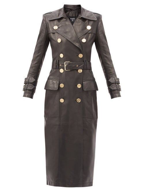 Balmain - Double-breasted Leather Trench Coat - Womens - Black