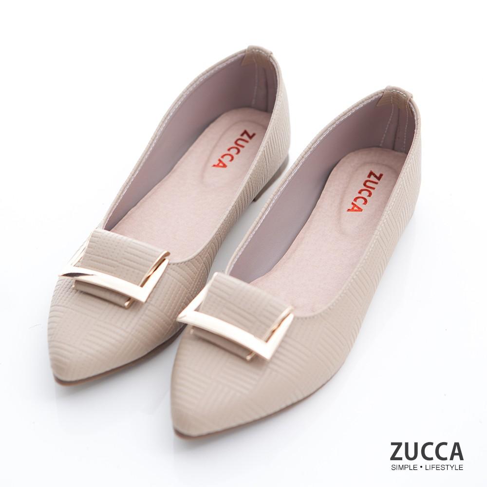 【ZUCCA】金屬細紋尖頭平底鞋-z6904lc-駝