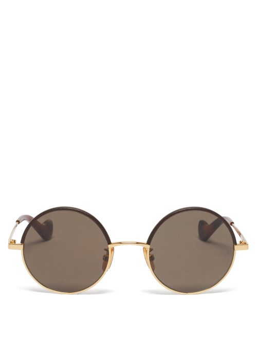 Loewe - Leather-trimmed Round Metal Sunglasses - Mens - Brown Gold