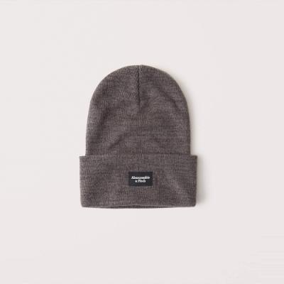 A&F 麋鹿 經典文字設計舒適保暖毛帽-深灰色