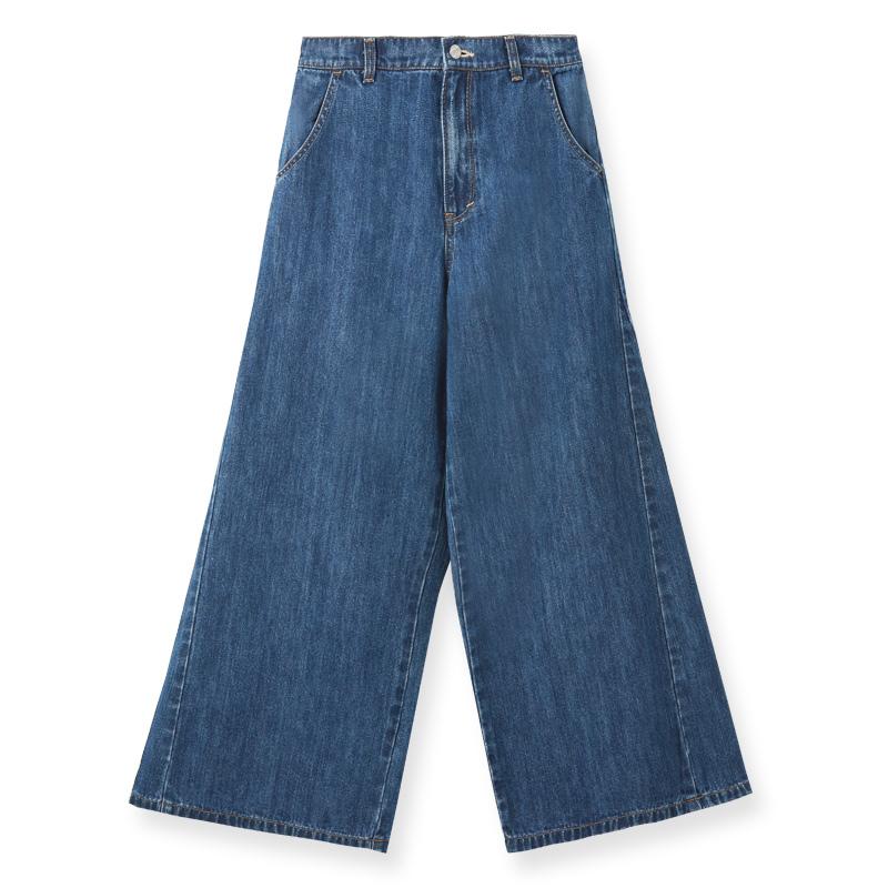 牛仔寬褲(酵洗藍)-女