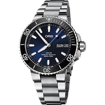 ORIS 豪利時 Aquis 大視窗日曆500米潛水機械錶-藍x銀/45.5mm 0175277334135-0782405PEB