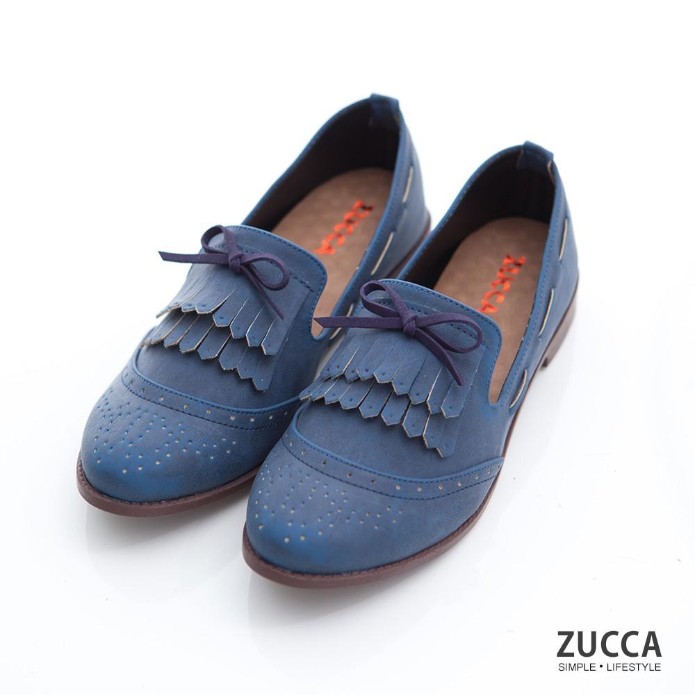 【ZUCCA】流蘇綁帶朵結平底鞋-z6901be-藍