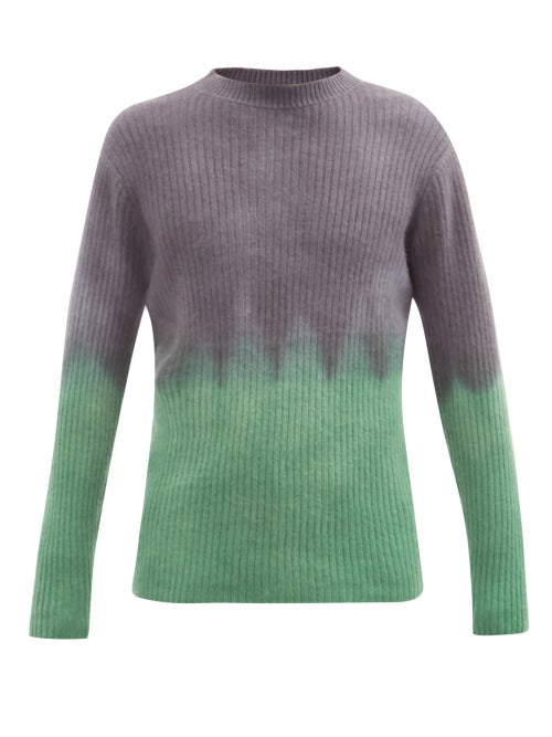 The Elder Statesman - Ribbed Tie-dye Cashmere Sweater - Mens - Black Green