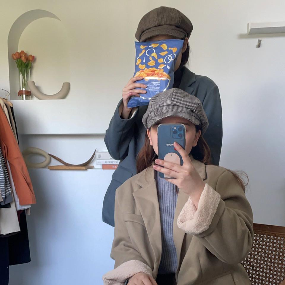 正韓千鳥格格紋八角帽 毛呢報童帽 帽子 格子報童帽 貝蕾帽 顯瘦帽 配件 GRASS 現貨 [F178]